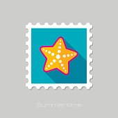 Starfishe flat stamp with long shadow, eps 10