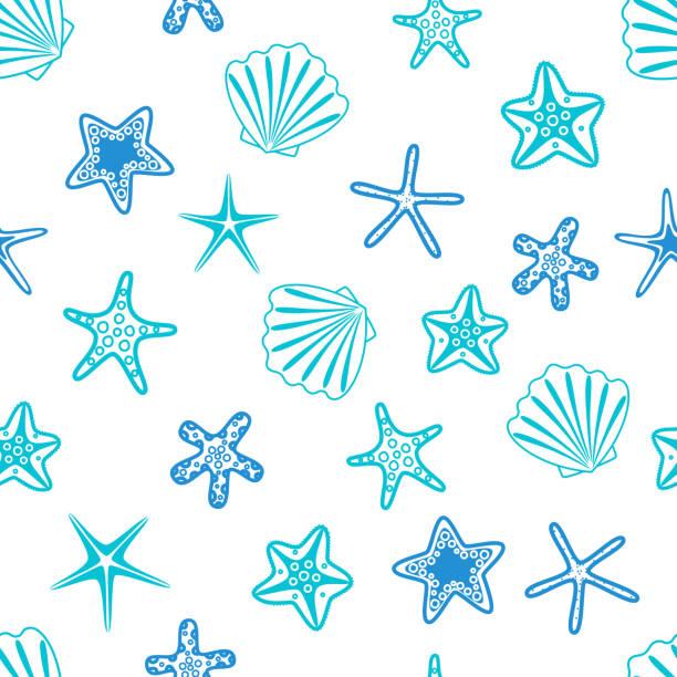 stockillustraties, clipart, cartoons en iconen met zeesterren en schelpen naadloze patroon. mariene achtergrond. vectorillustratie - zeeschelp
