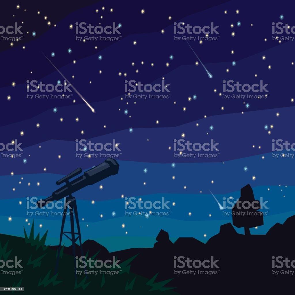 Estrelas. Estrelas cadentes. Paisagem natural, céu estrelado e telescópio em primeiro plano. - ilustração de arte em vetor