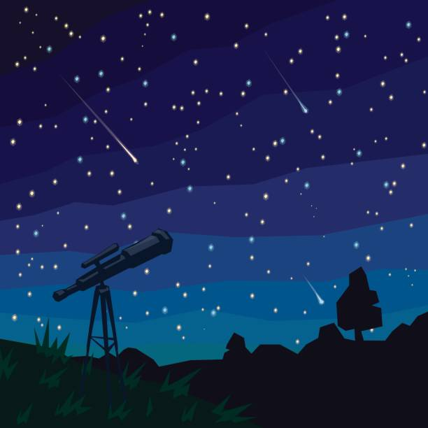 stargazing. falling stars. natural landscape, night starry sky and telescope on foreground. - астрономия stock illustrations