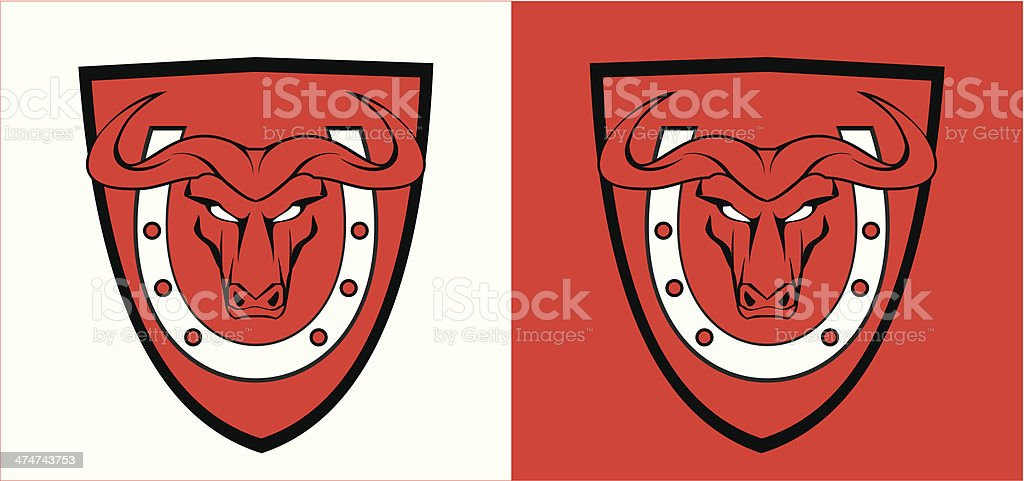 staring red buffalo over the horseshoe and shield royalty-free stock vector art