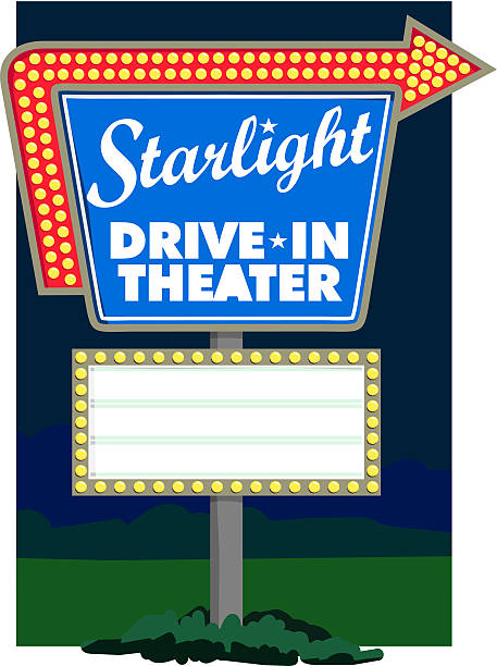 starlight drive-in theater - date night stock illustrations