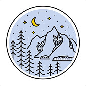 Coniferous forest and mountain peaks. Blue Starlight Night and Yellow Crescent Moon.
