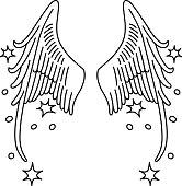 Starred angel wings set