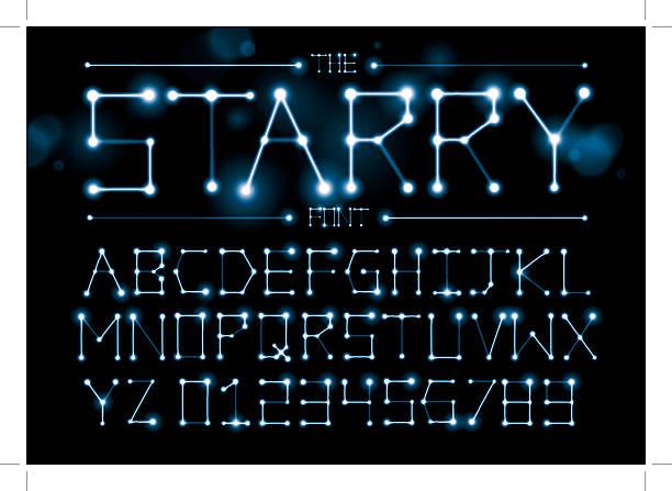 ilustrações de stock, clip art, desenhos animados e ícones de starry alphabet - constelação