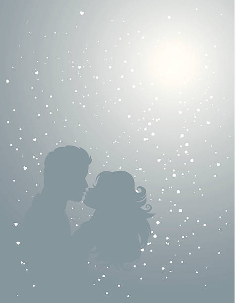 Starry Kiss A man and woman kissing under the stars. Could also be snow. heyheydesigns stock illustrations