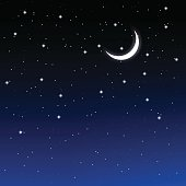 starry sky and crescent