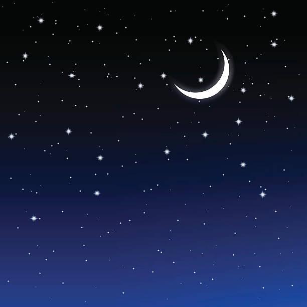 starry sky and crescent - 新月 幅插畫檔、美工圖案、卡通及圖標