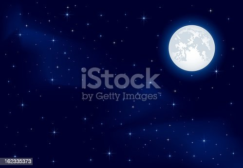 istock Starry sky and Moon 162335373