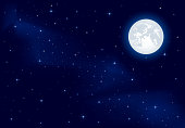 Night background, Moon and shining Stars on dark blue sky, illustration