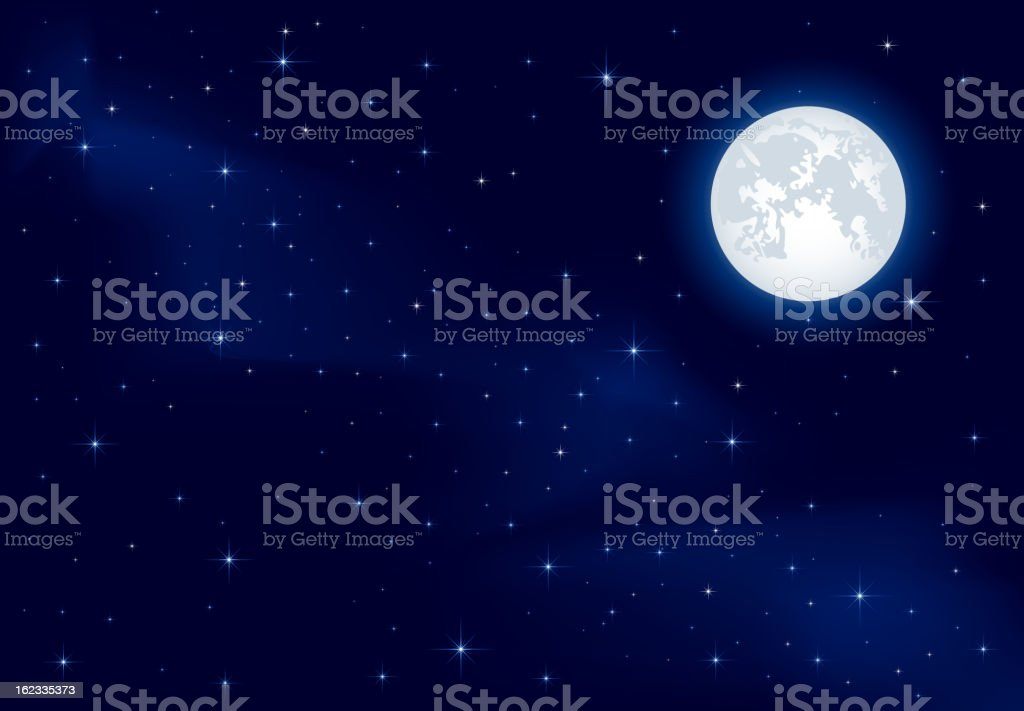 Starry sky and Moon vector art illustration