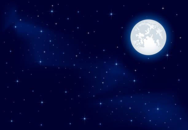 별이 빛나는 하늘 및 상현달 - 사진 예술 및 공예제품 stock illustrations