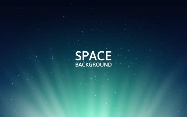 illustrazioni stock, clip art, cartoni animati e icone di tendenza di starry sky and northern lights. space background with milky way and shining stars. colorful backdrop with stardust. realistic cosmos and polar lights. vector illustration - aurora boreale