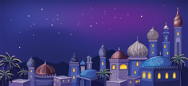 Starry sky. Magic night in the East. Fairytale Arabic landscape with traditional mud houses and ancient temple or Mosque. Muslim Cityscape.  Building Religion. Cartoon Wallpaper. Fabulous background.