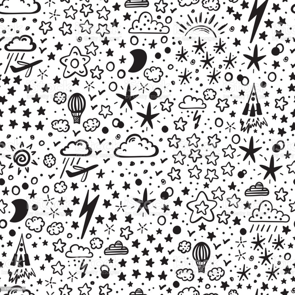 Starry Space Sky Vector Seamless Pattern For Kids Hand Drawn