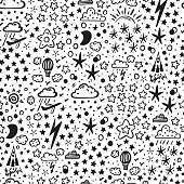Starry Space Sky Vector Seamless Pattern for Kids. Hand Drawn Doodle Air Transport, Rain Clouds and Stars Background
