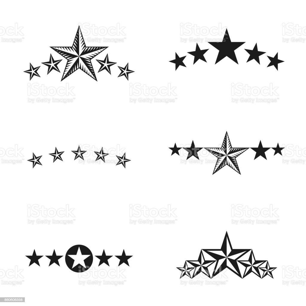 Stars ancient emblems elements set. Heraldic vector design elements collection. Retro style label, heraldry icon. vector art illustration