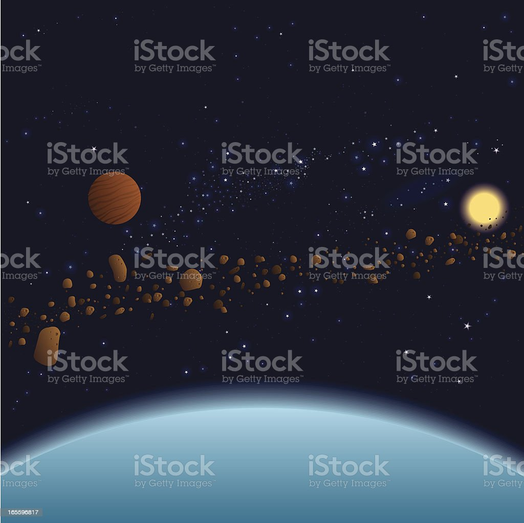 Stars and Asteroids vector art illustration