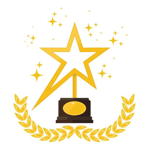 stars and award Award statue in shape of star with laurel wreath on stand. Trophy for first place in competition, film festival, achievement and success. Flat vector illustration. Objects isolated on background. sciatic nerve stock illustrations