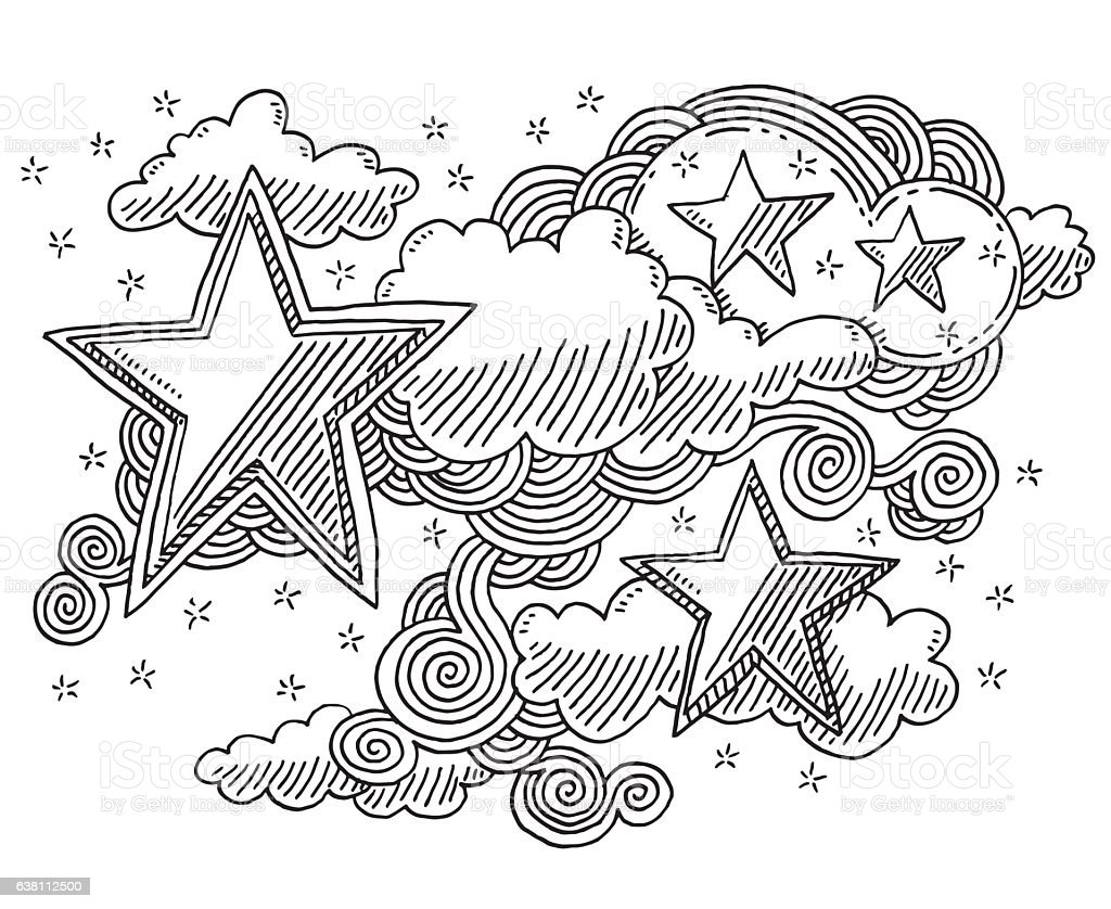 Stars And Clouds Sky Doodle Drawing vector art illustration