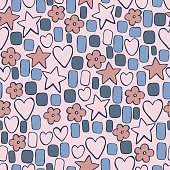 Hand drawn cute stars and hearts. Vector  seamless pattern.