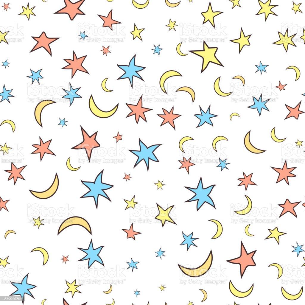 Ilustración de Estrellas Y Lunas De Patrones Sin Fisuras Estilo De ...