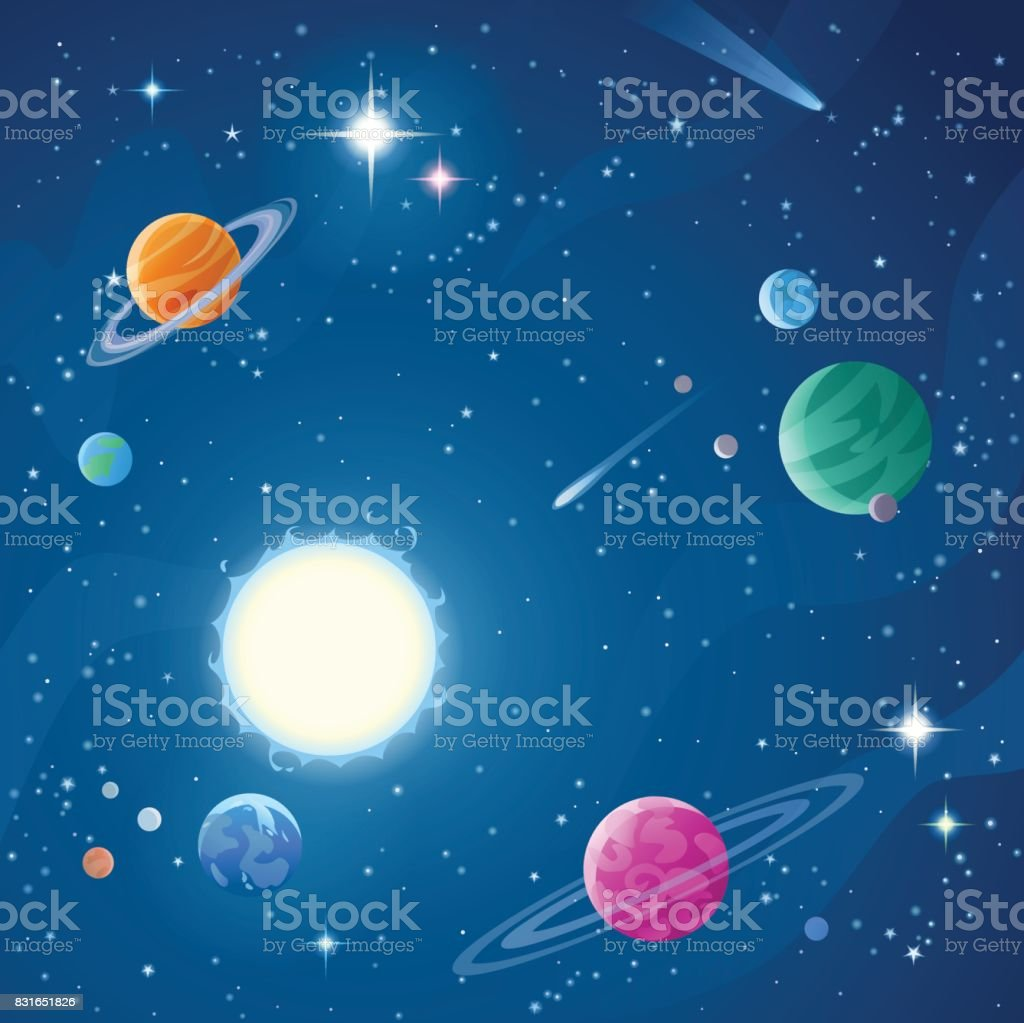 Stars And Planets vector art illustration