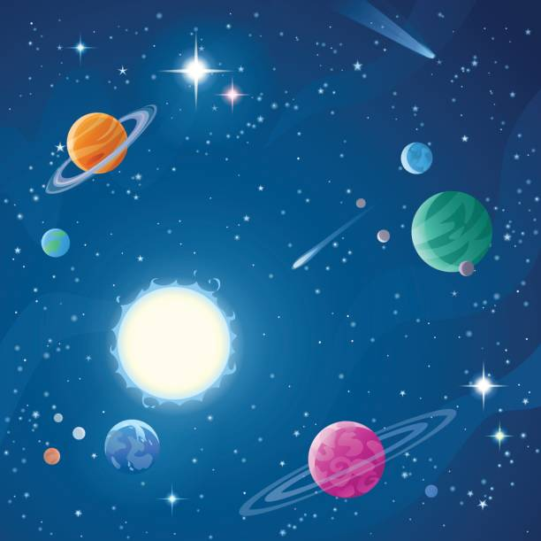stars and planets - miejsce na tekst stock illustrations