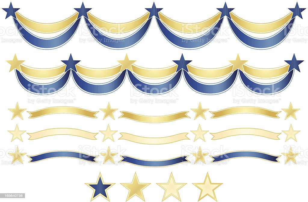 Stars and Ribbons Banners, Borders Set vector art illustration