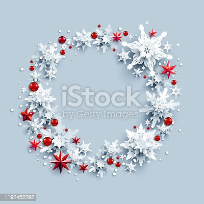 Winter holiday realistic paper cut wreath from snowflakes and stars. Snow christmas decoration for design banner, ticket, invitation, greetings, leaflet and so on.