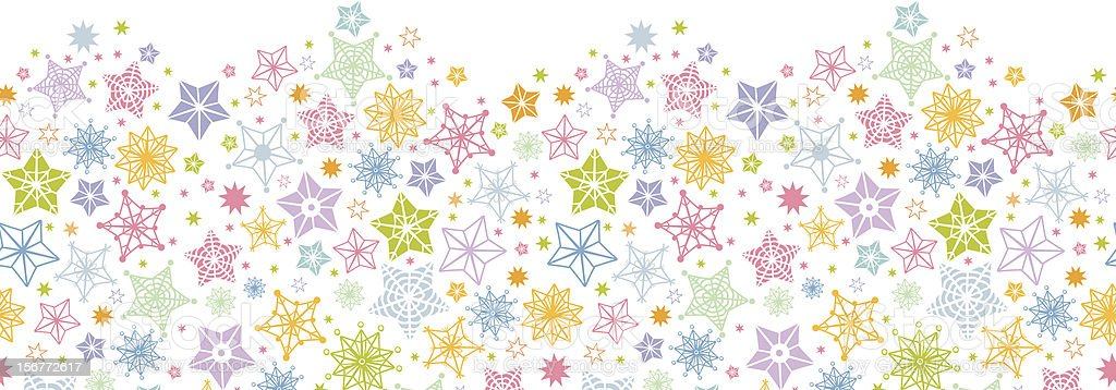 Stars and Snowflakes Horizontal Seamless Pattern Ornament royalty-free stock vector art