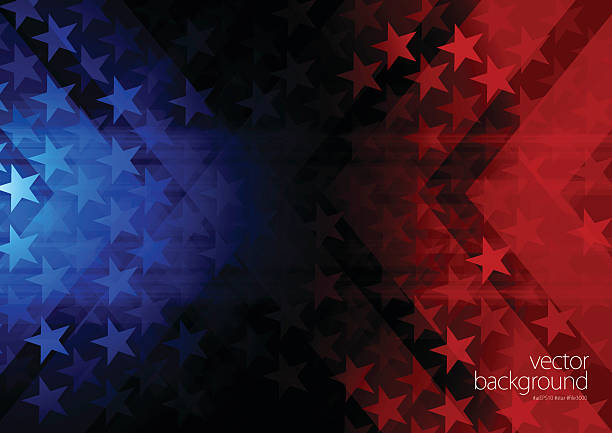 Stars and stripes background Vector of rising star with red and blue background. presidential candidate stock illustrations