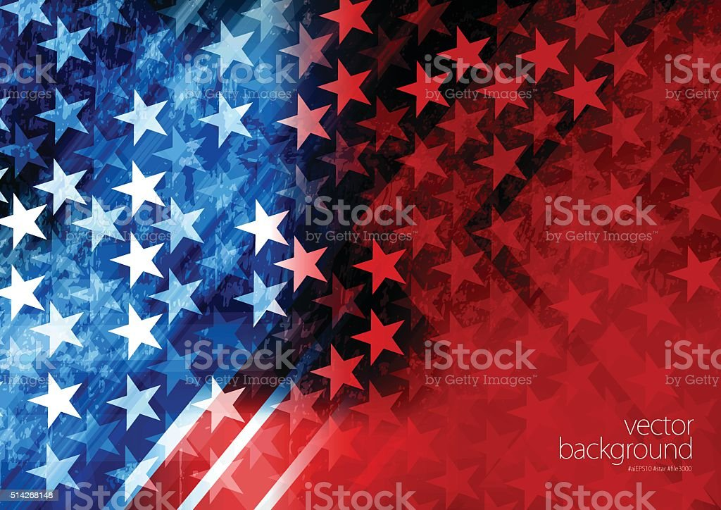 USA Stars and stripes background Vector of USA rising star with grunge texture effect background. Abstract stock vector
