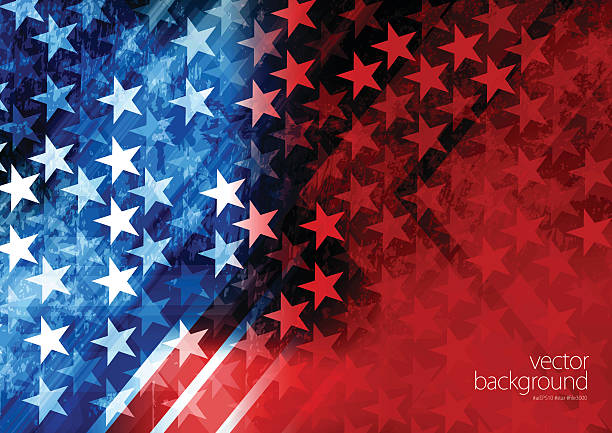 USA Stars and stripes background Vector of USA rising star with grunge texture effect background. independence day illustrations stock illustrations
