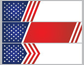 Vector illustration of USA stars and stripes banner background. EPS Ai 10 file format.