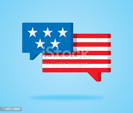 Vector illustration of two speech bubbles with USA flag, stars and stripes coloring against a blue background.