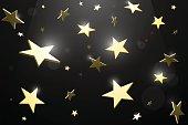 Golden stars against black background. EPS 10 file.