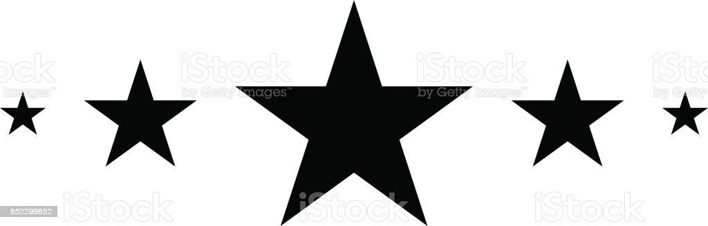 5 Stars, Black star in flat style, Star icon vector art illustration