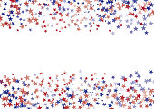 Stars Colored In American Flag Colors On White Background