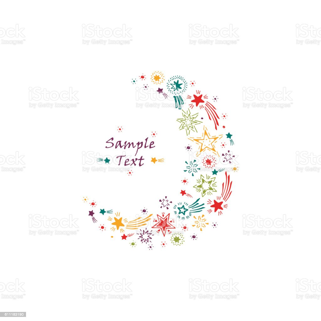 stars crescent moon hand drawn doodle stars holiday card template の