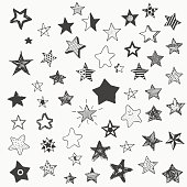 stars doodle graphic big set. simple cartoon different star
