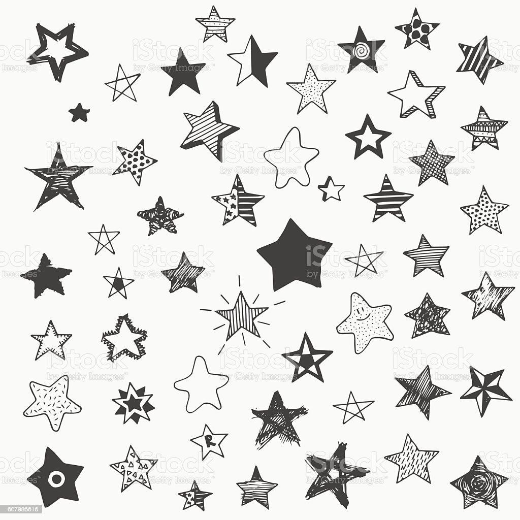 stars doodle graphic big set. simple cartoon different star vector art illustration