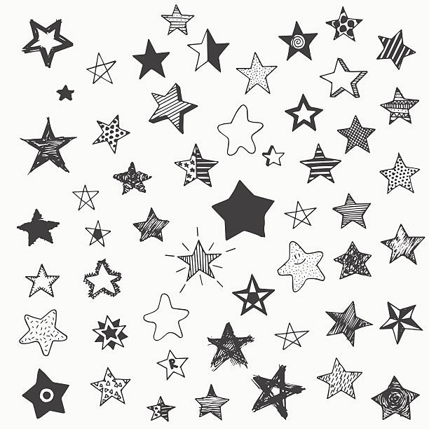 stars doodle graphic big set. simple cartoon different star stars doodle graphic big set. simple cartoon different stars celebrities stock illustrations