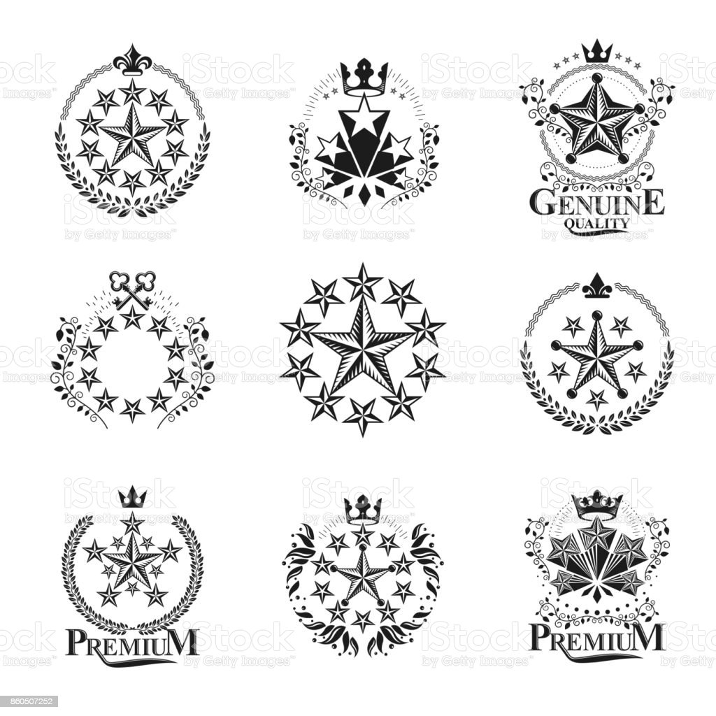 Stars emblems set. Decorative heraldic Coat of Arms isolated vector illustrations collection. vector art illustration