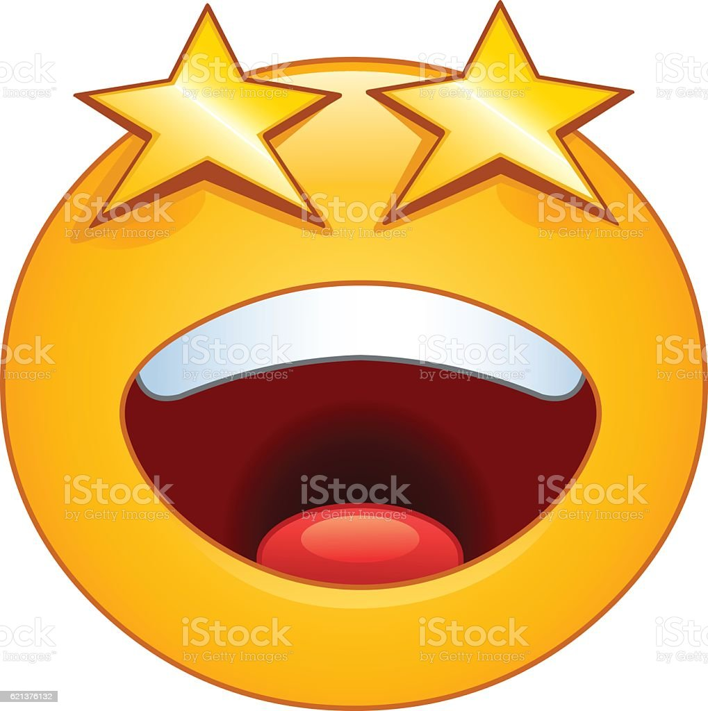 Stars eyes emoticon vector art illustration