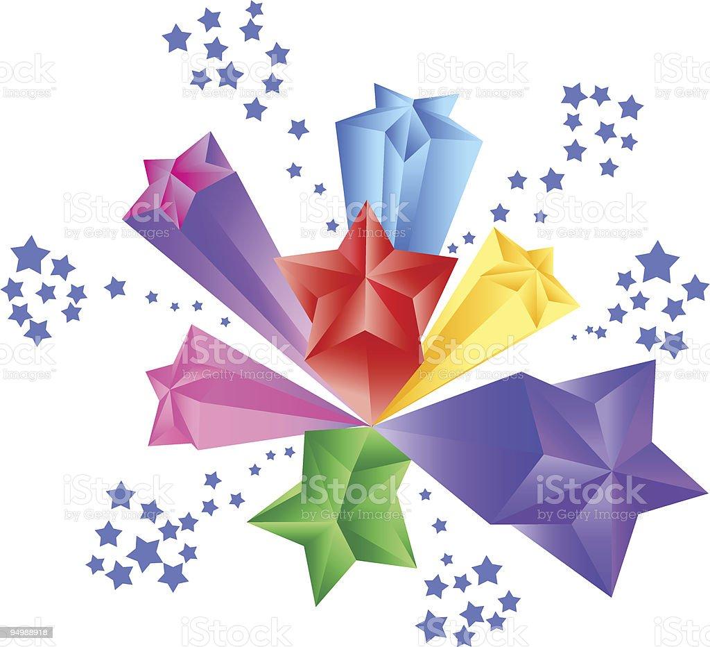 3D stars. Firework royalty-free 3d stars firework stock vector art & more images of 1970-1979