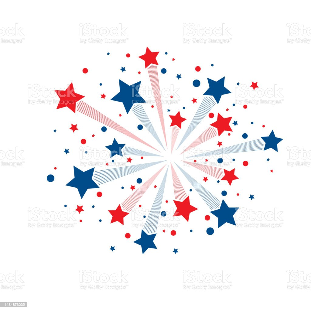 Stars fireworks background Red and blue abstract lines fireworks with stars and circles isolated on white background Abstract stock vector