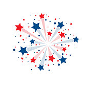 Red and blue abstract lines fireworks with stars and circles isolated on white background
