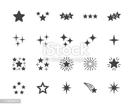 Stars flat glyph icons set. Starry night, falling star, firework, twinkle, glow, glitter burst vector illustrations. Black signs for glossy material property. Silhouette pictogram pixel perfect 64x64.