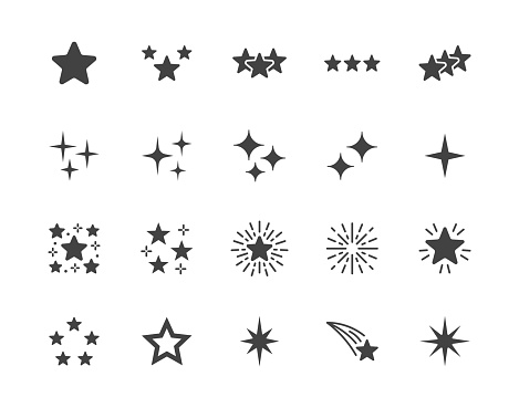 Stars flat glyph icons set. Starry night, falling star, firework, twinkle, glow, glitter burst vector illustrations. Black signs for glossy material property. Silhouette pictogram pixel perfect 64x64
